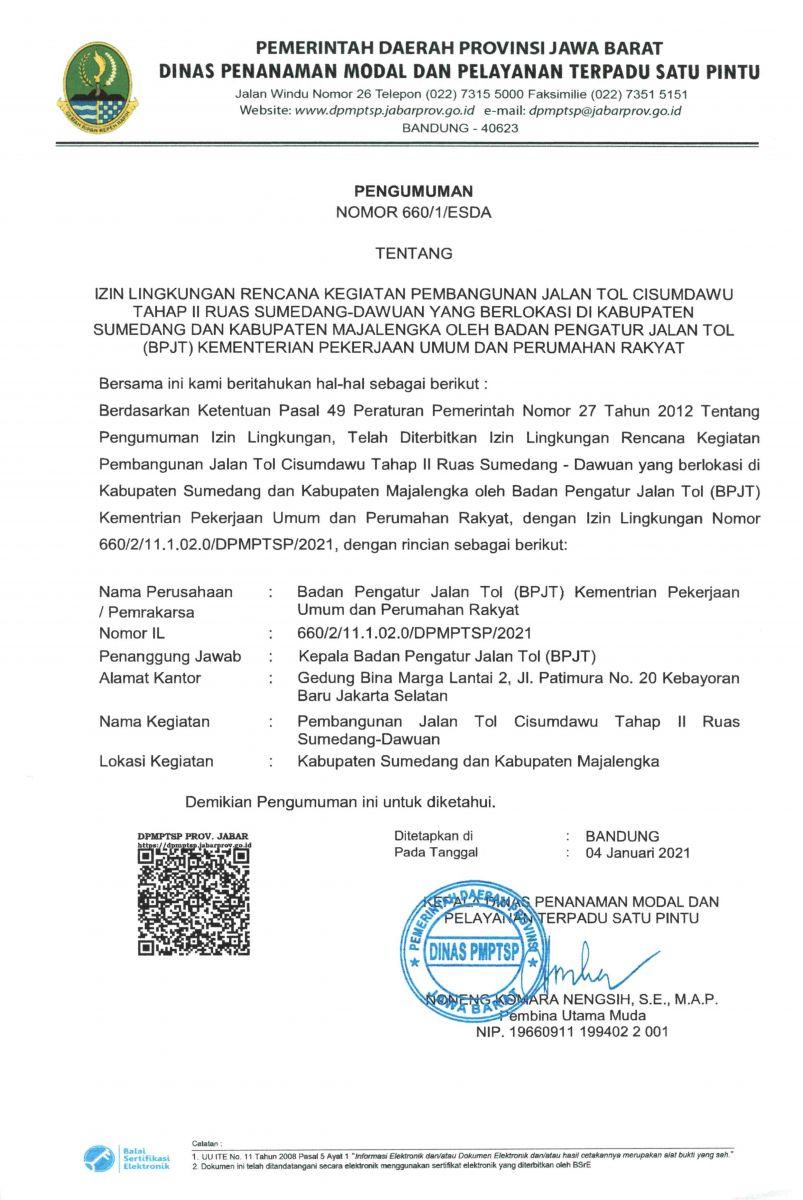 Pengumuman Izin Lingkungan Izin Lingkungan Badan Pengatur Jalan Tol (BPJT) Kementerian PUPR