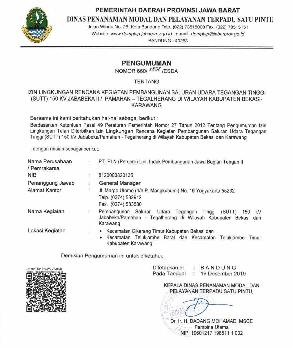 Pengumuman Izin Lingkungan PT. PLN (Persero) Unit Induk Pembangunan Jawa Tengah II