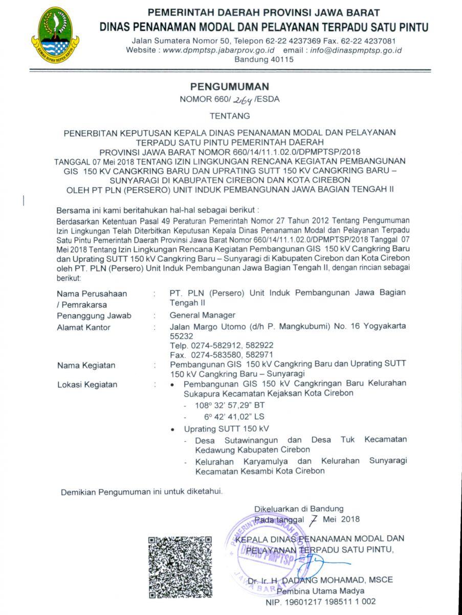 Pengumuman Izin Lingkungan PT. PLN PERSERO UNIT INDUK PEMBANGUNAN JAWA BAG TENGAH II