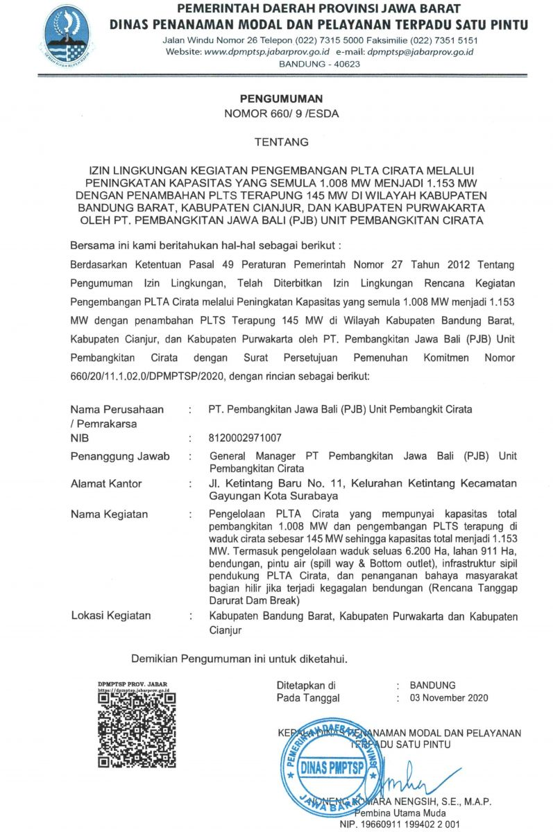 Pengumuman Izin Lingkungan PT. Pembangkitan Jawa Bali (PBJ) Unit Pembangkit Cirata
