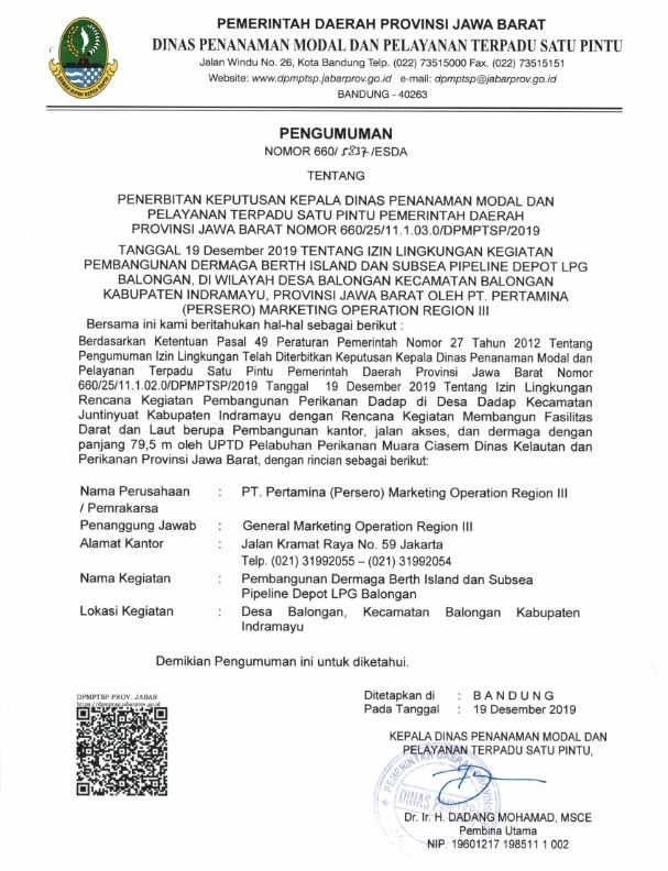 Pengumuman Izin Lingkungan PT. Pertamina (Persero) Marketing Operation Reg III