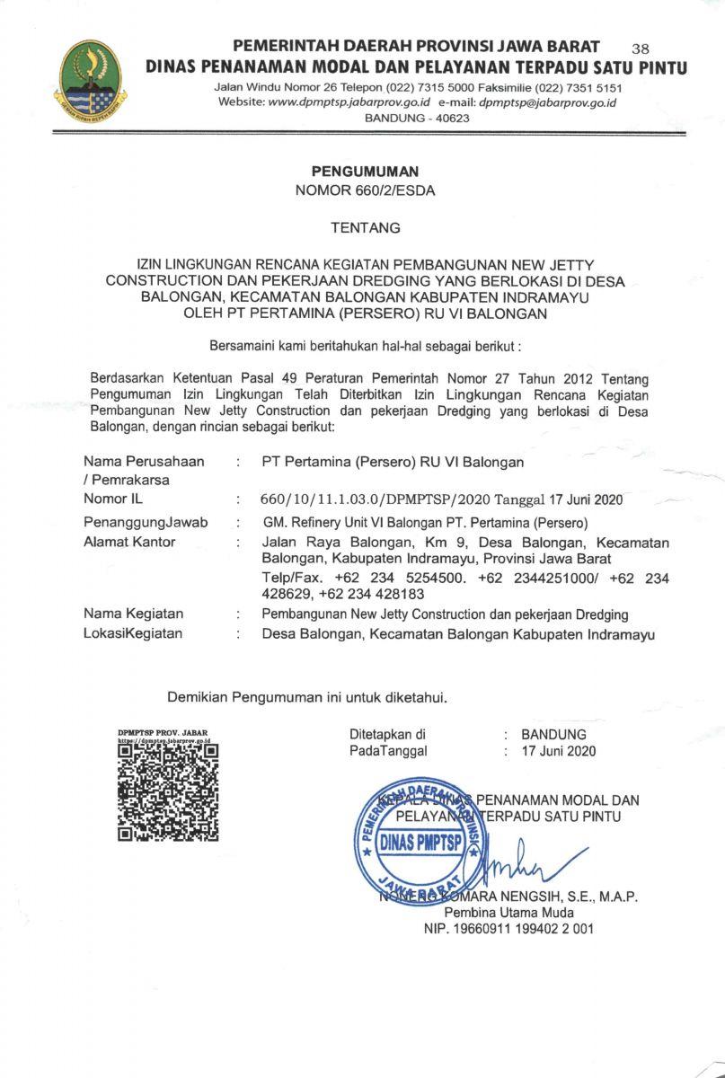 Pengumuman Izin Lingkungan PT. Pertamina (Persero) RU VI Balongan