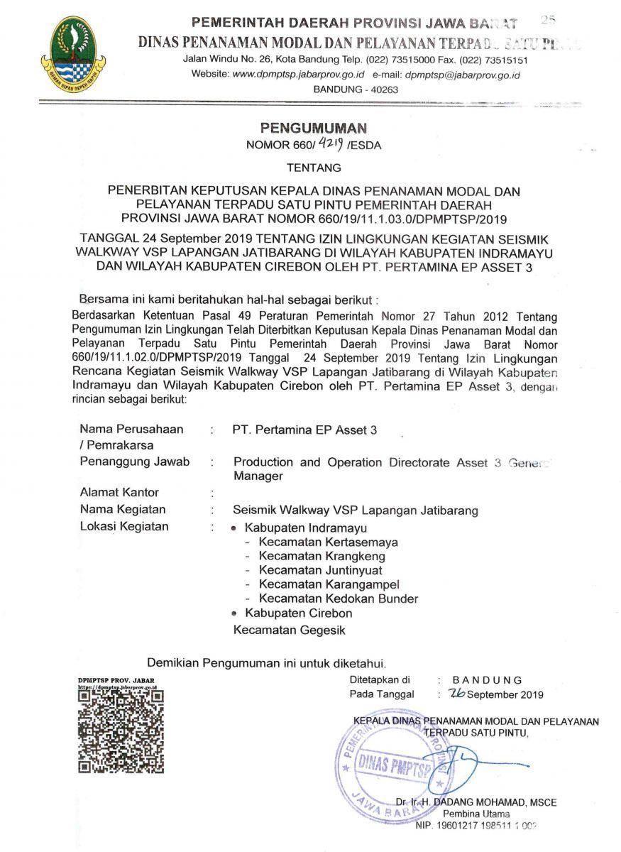 Pengumuman Izin Lingkungan PT. Pertamina EP Asset 3