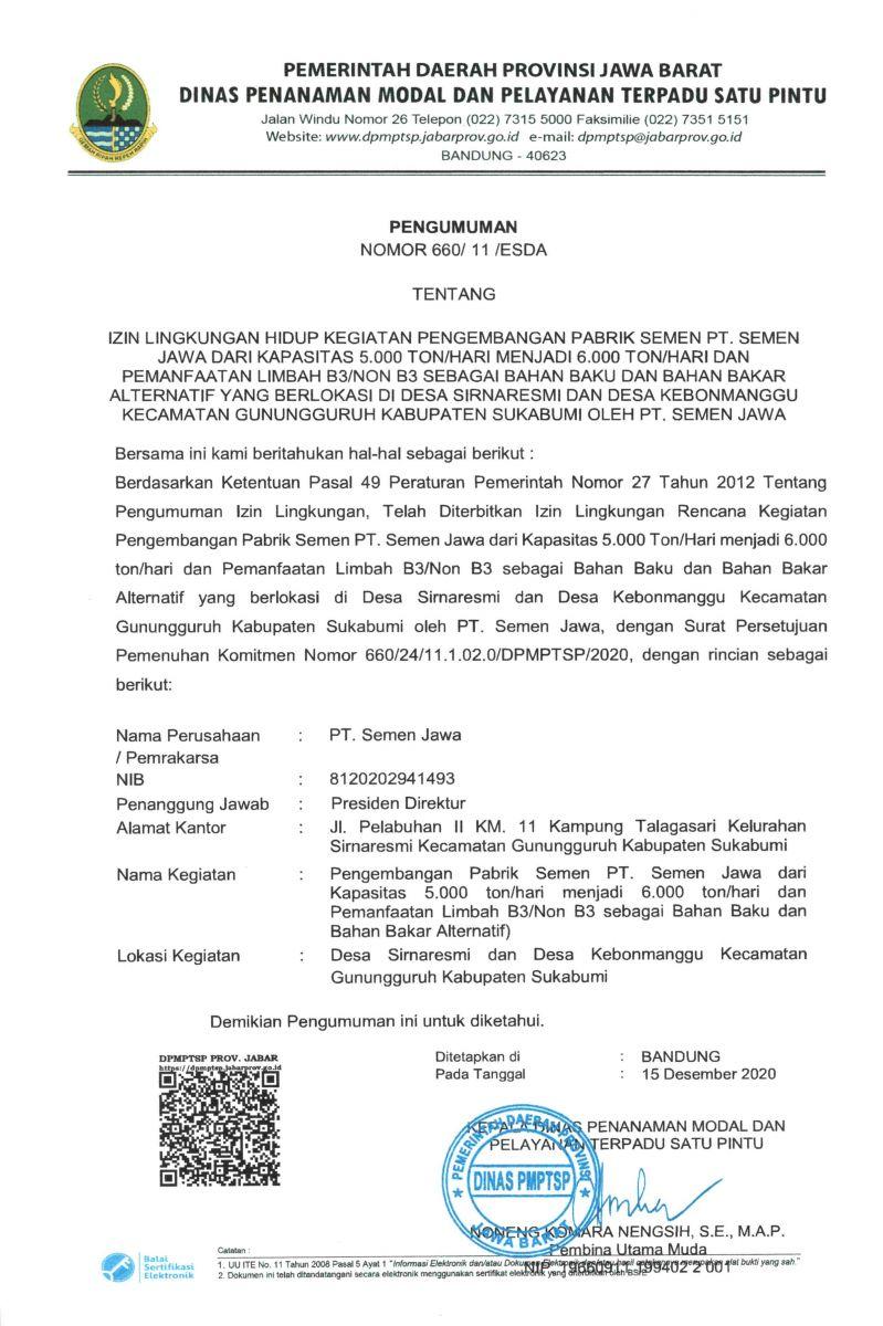 Pengumuman Izin Lingkungan Hidup PT. Semen Jawa