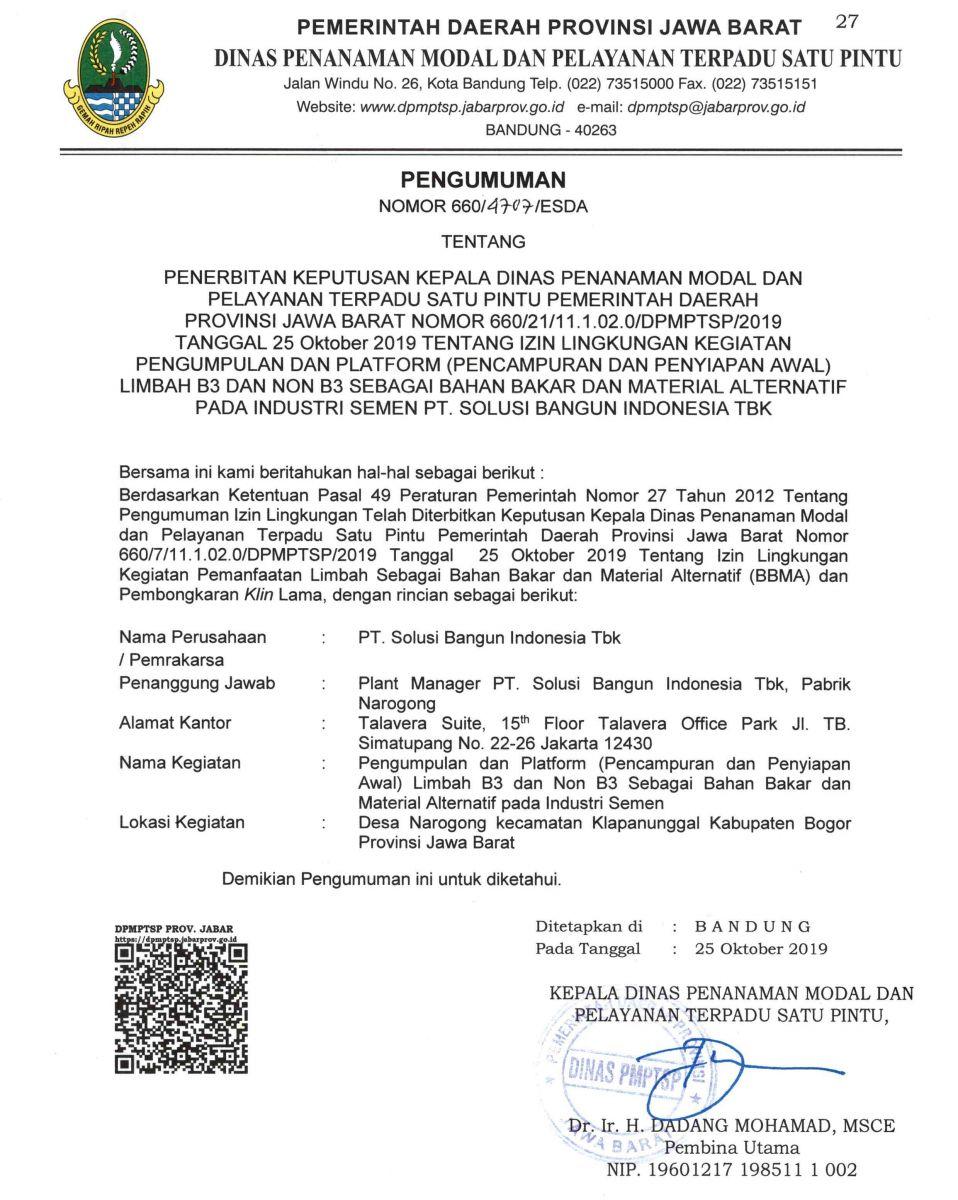 Pengumuman Izin Lingkungan PT. Solusi Bangun Indonesia Tbk