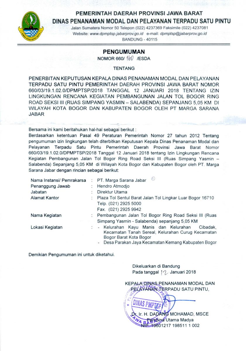Pengumuman Izin Lingkungan PT.Marga Sarana Jabar